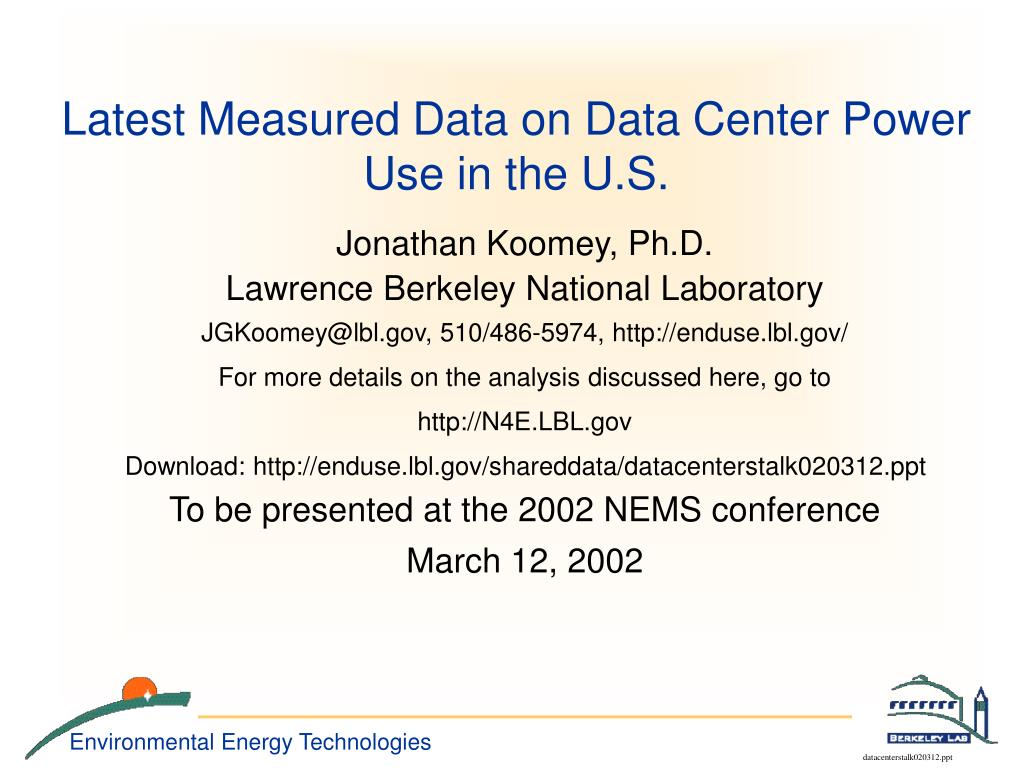 latest measured data on data center power use in the u s l.