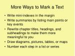 more ways to mark a text
