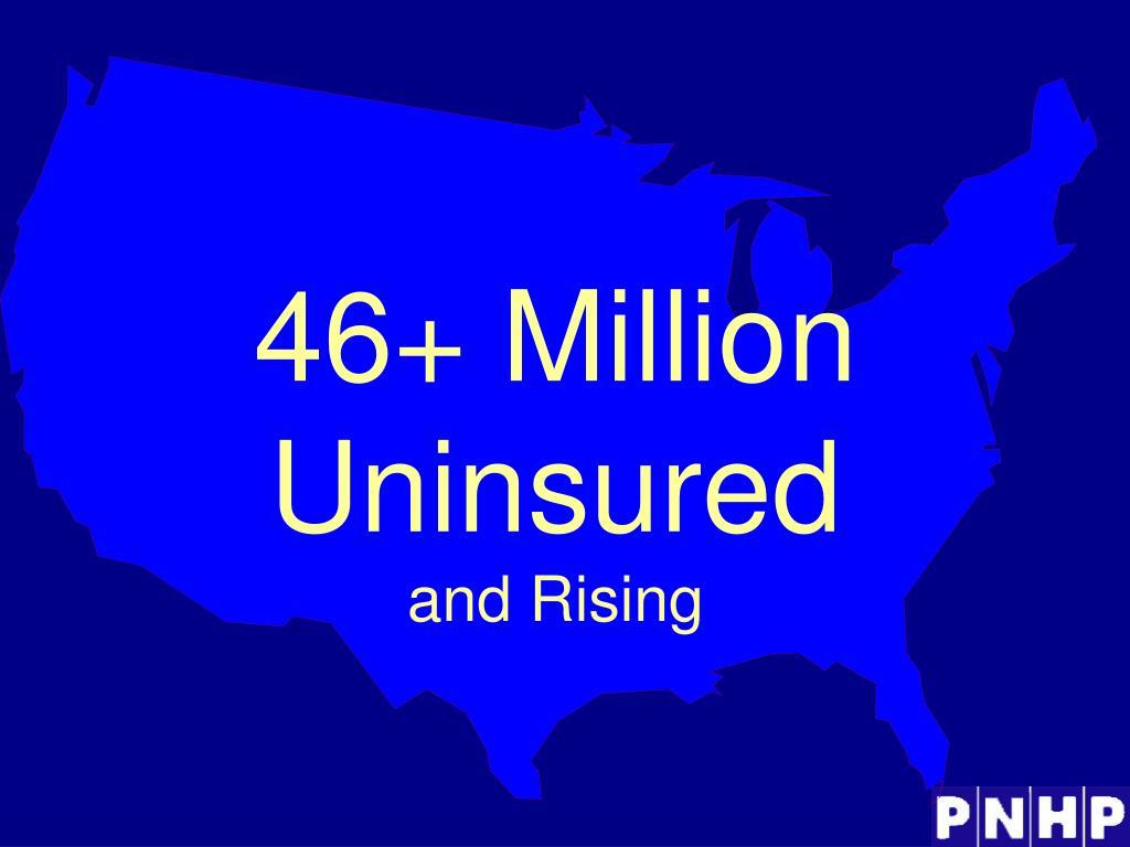 46+ Million  Uninsured