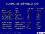 ceo pay and stockholdings 1998