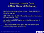 illness and medical costs a major cause of bankruptcy