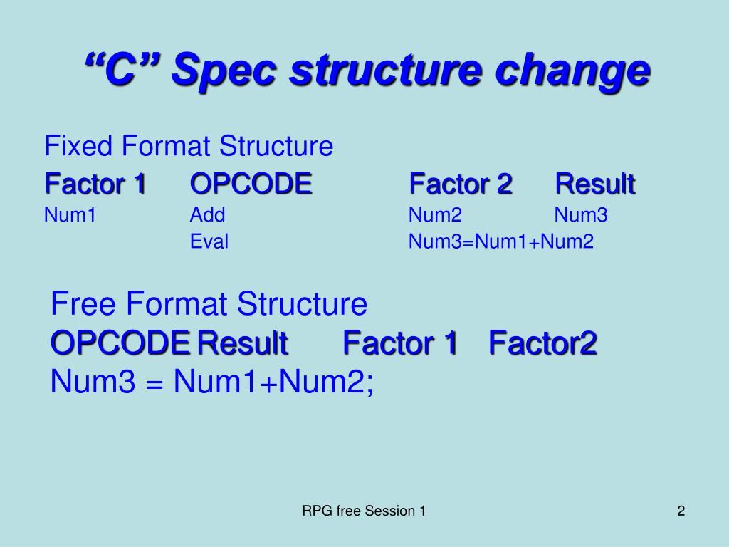 """C"" Spec structure change"