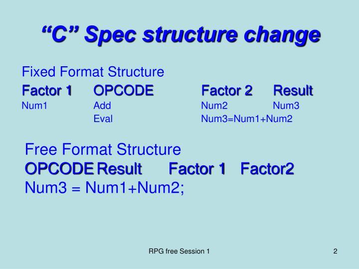 C spec structure change
