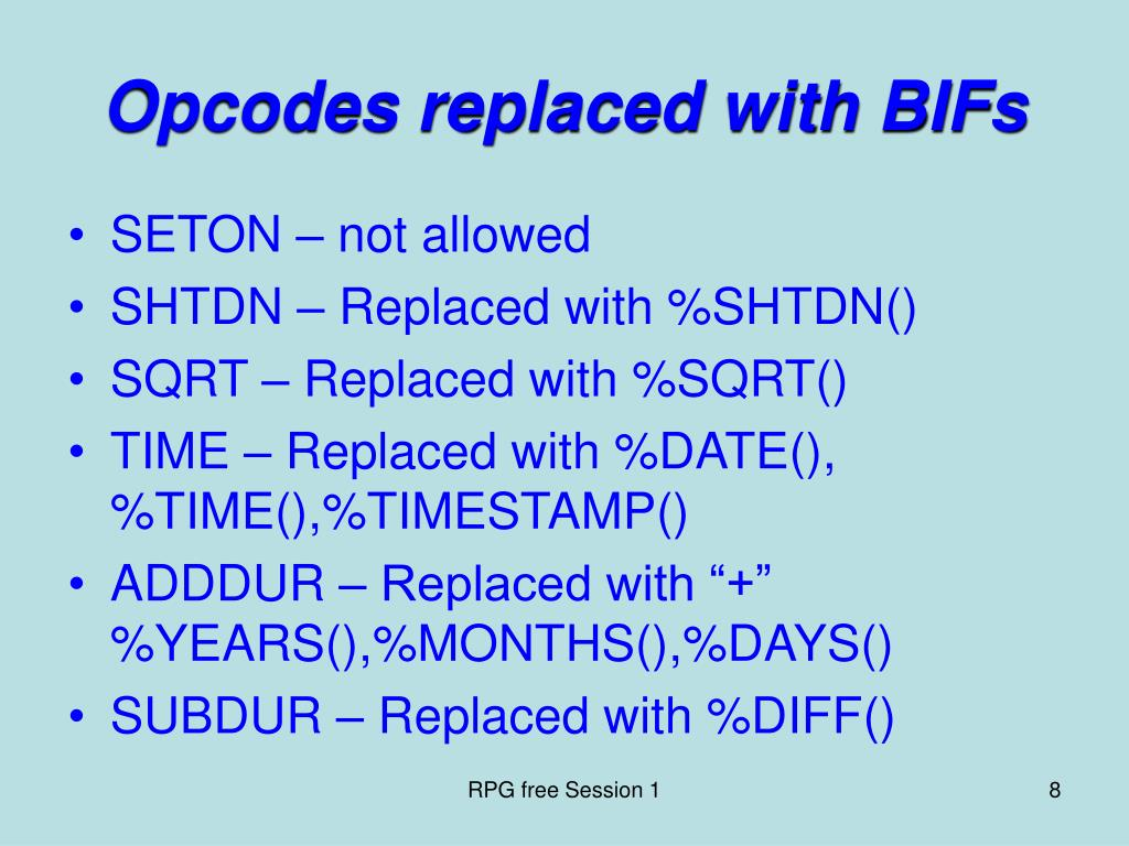 Opcodes replaced with BIFs