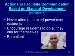 actions to facilitate communication based on stage of development continued