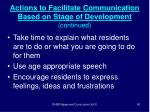 actions to facilitate communication based on stage of development continued60