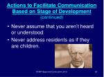 actions to facilitate communication based on stage of development continued62