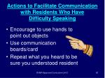 actions to facilitate communication with residents who have difficulty speaking