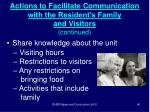 actions to facilitate communication with the resident s family and visitors continued40