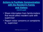 actions to facilitate communication with the resident s family and visitors continued42