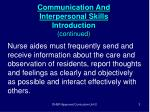 communication and interpersonal skills introduction continued