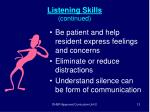 listening skills continued