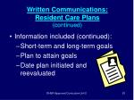 written communications resident care plans continued81