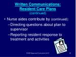written communications resident care plans continued83
