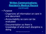 written communications resident s medical record continued87