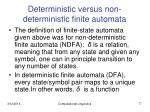 deterministic versus non deterministic finite automata