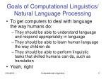 goals of computational linguistics natural language processing