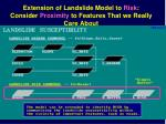extension of landslide model to risk consider proximity to features that we really care about