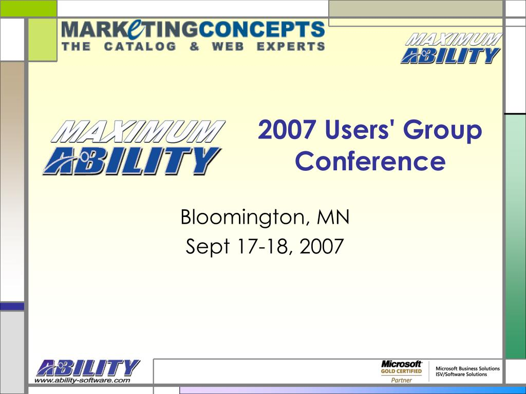 2007 users group conference l.
