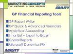 gp financial reporting tools