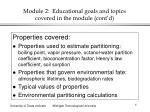 module 2 educational goals and topics covered in the module cont d