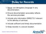 rules for records