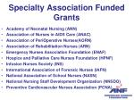 specialty association funded grants