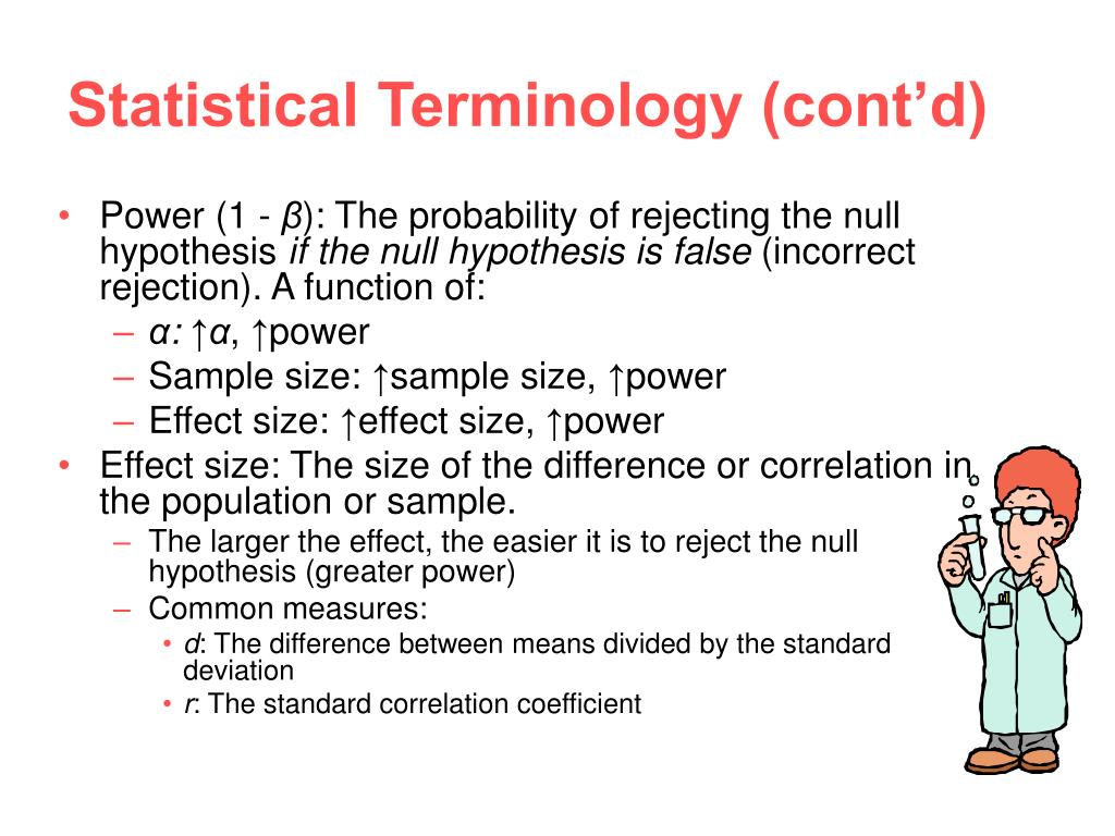 Statistical Terminology (cont'd)
