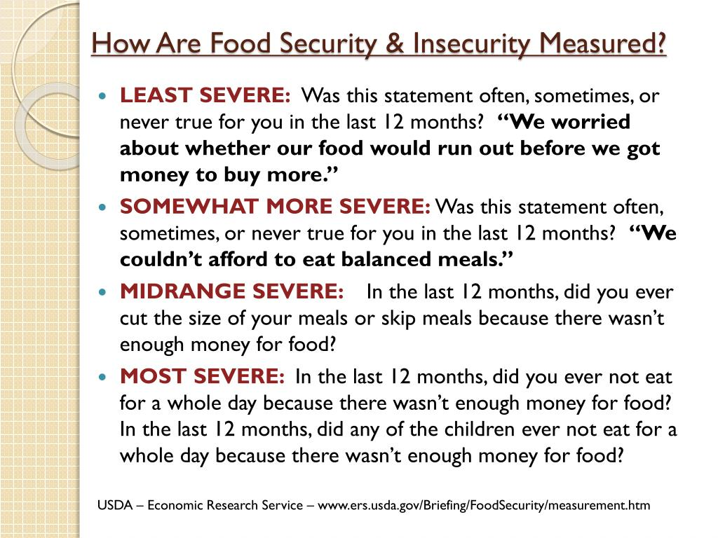 How Are Food Security & Insecurity Measured?