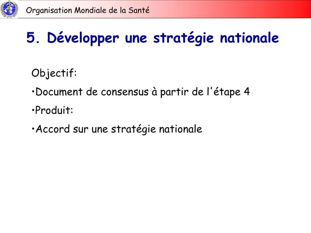 5. Développer une stratégie nationale