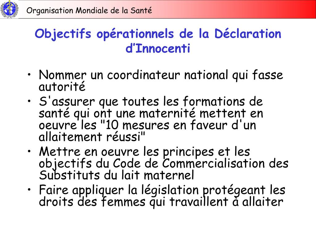 Objectifs opérationnels de la Déclaration d'Innocenti