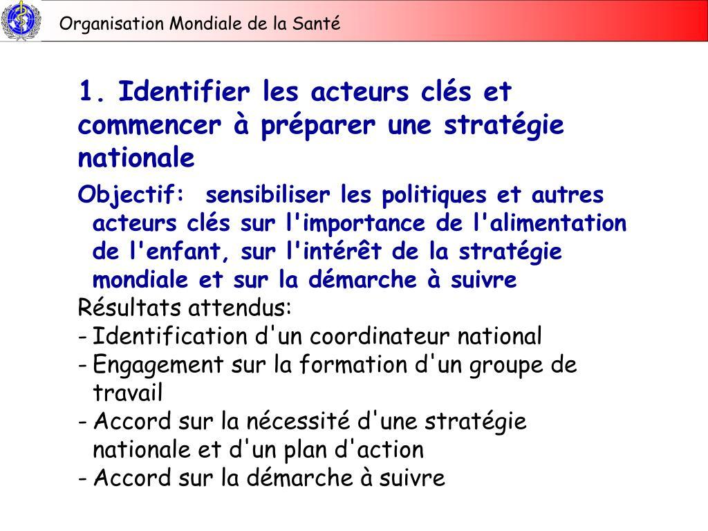 1. Identifier les acteurs clés et commencer à préparer une stratégie nationale