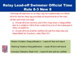 relay lead off swimmer official time rule 8 3 new 8