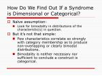 how do we find out if a syndrome is dimensional or categorical