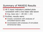 summary of maxeig results