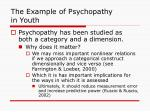the example of psychopathy in youth