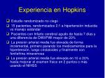experiencia en hopkins