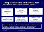 taming the economic development zoo six parts of formal economic development practice