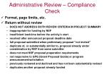 administrative review compliance check