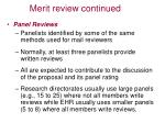 merit review continued