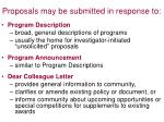 proposals may be submitted in response to