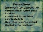 prevention intervention summary