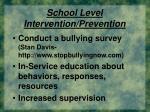 school level intervention prevention