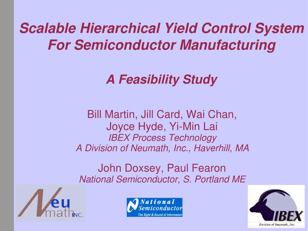scalable hierarchical yield control system for semiconductor manufacturing a feasibility study l.