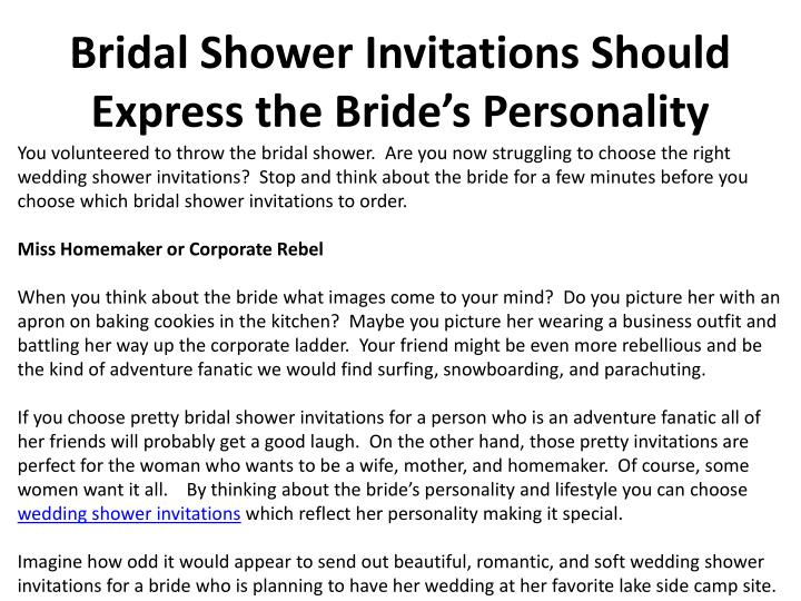 bridal shower invitations should express the bride s personality n.