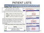 patient lists