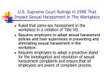 u s supreme court rulings in 1998 that impact sexual harassment in the workplace