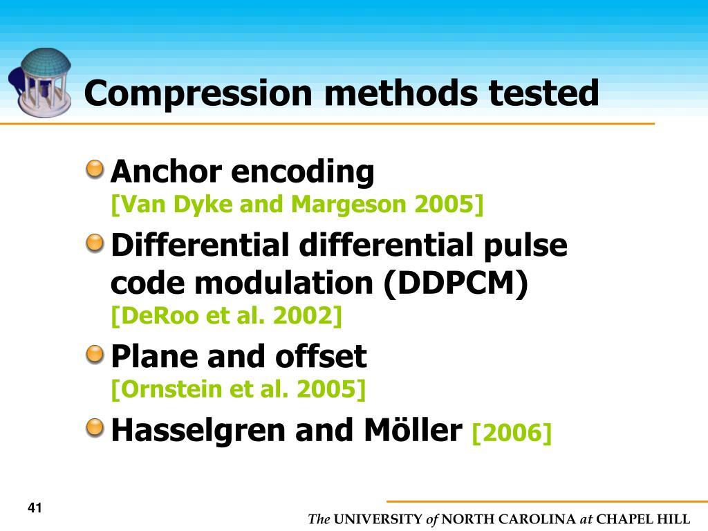 Compression methods tested