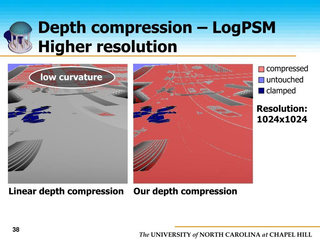 Depth compression – LogPSM Higher resolution