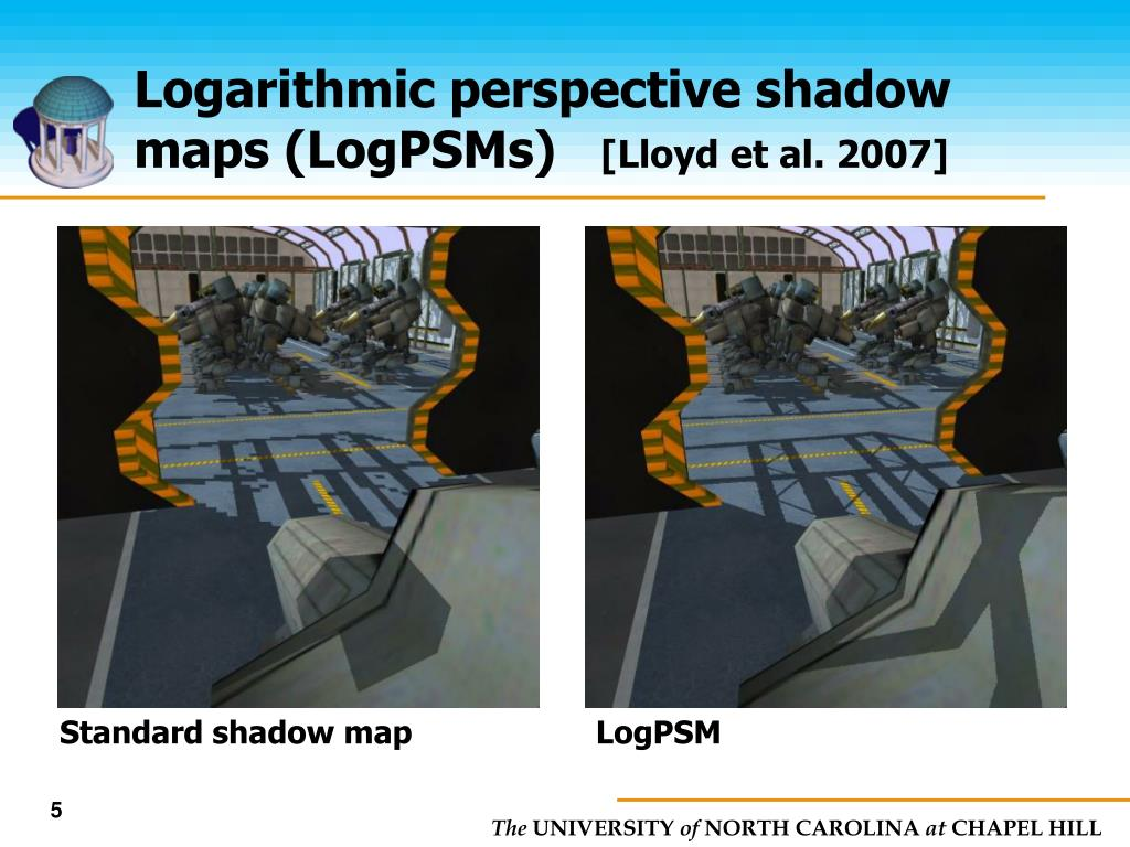 Logarithmic perspective shadow maps (LogPSMs)